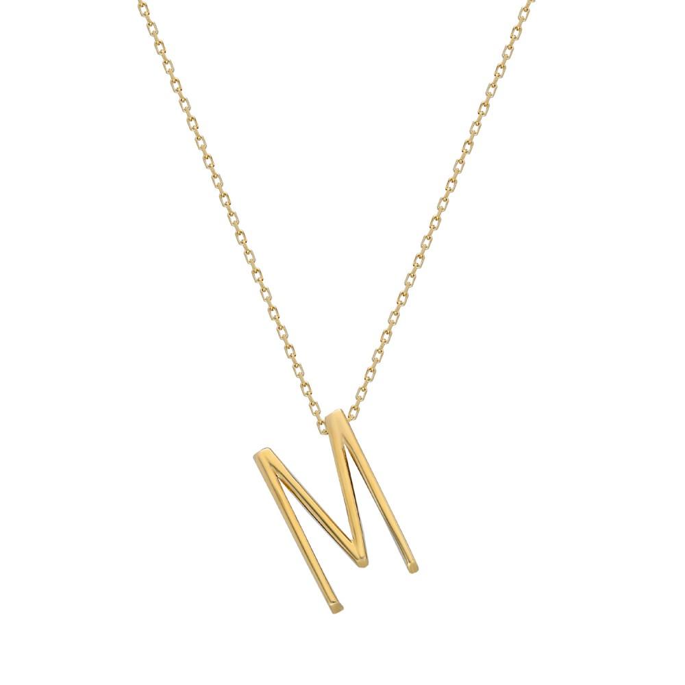 Glorria Gold 3D M Letter Necklace