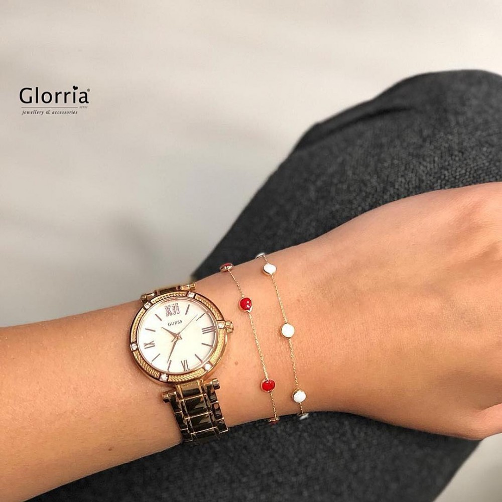 Glorria Gold Red Pave Bracalet