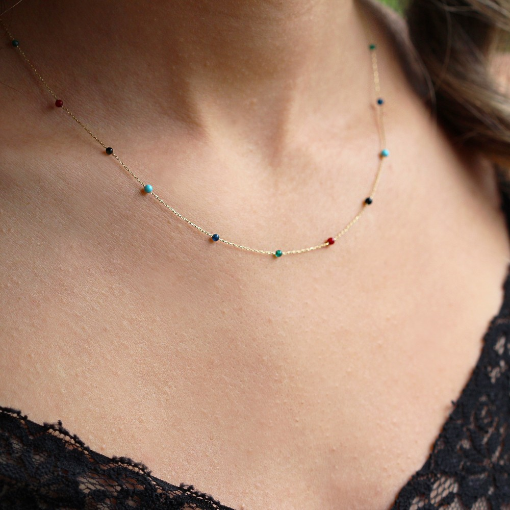 Glorria Gold Colored Pave Row Necklace