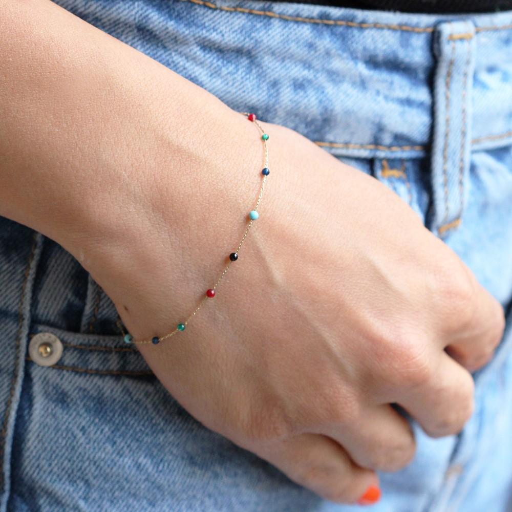 Glorria Gold Rows Pave Bracelet