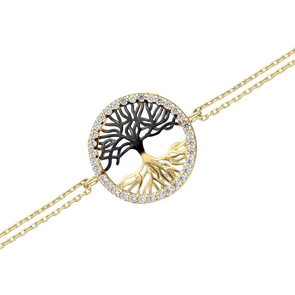 Glorria Gold Black Tree Bracelet