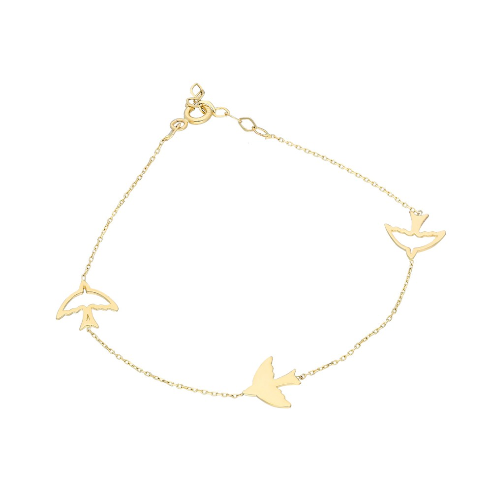 Glorria Ankle Bird Gold Bracelet