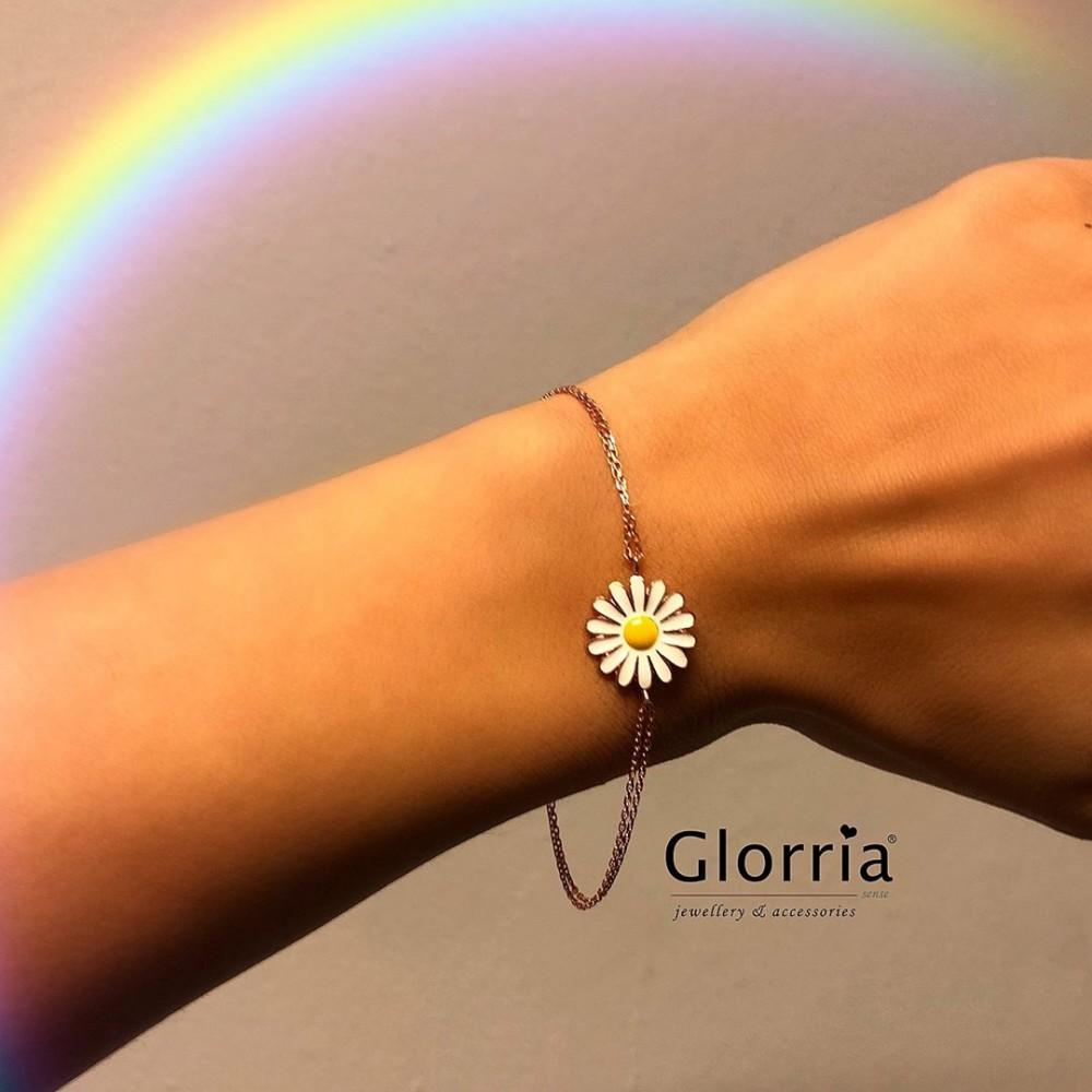 Glorria Silver Daisy Bracalet