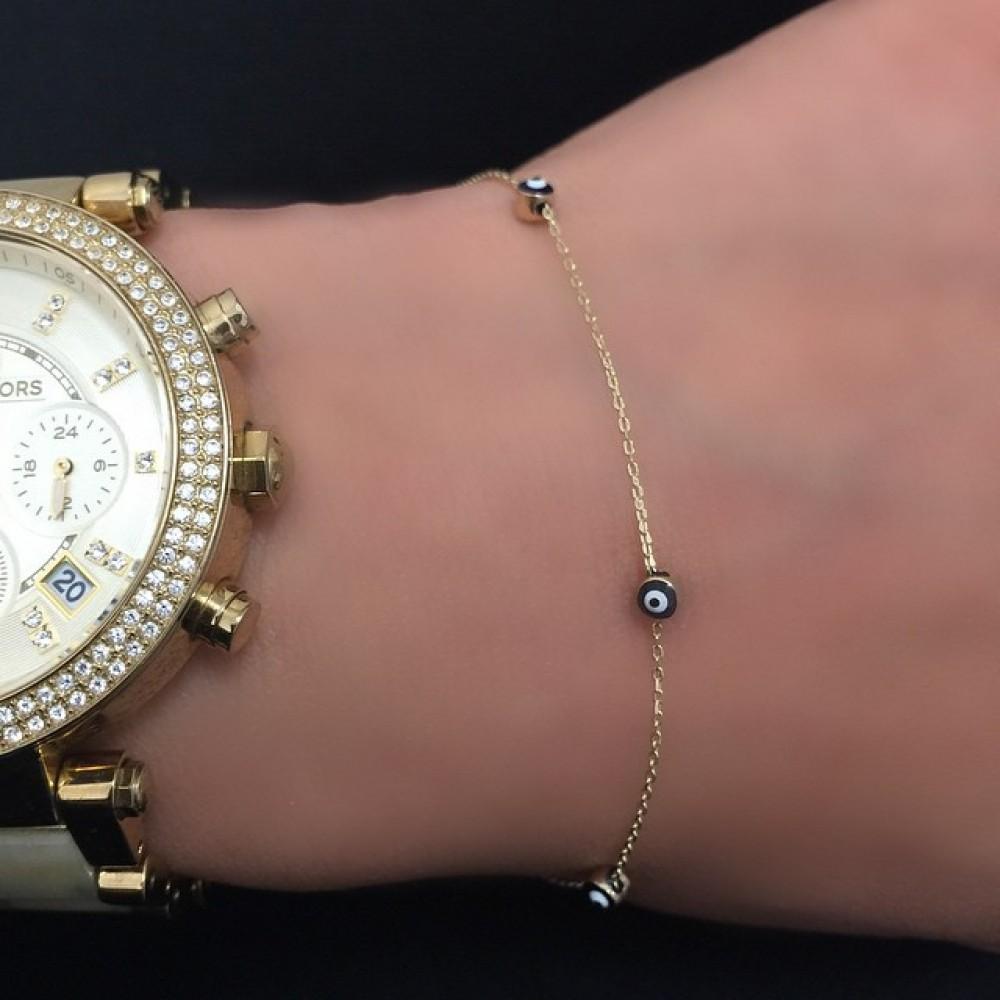 Glorria Evil Bead Gold Bracelet