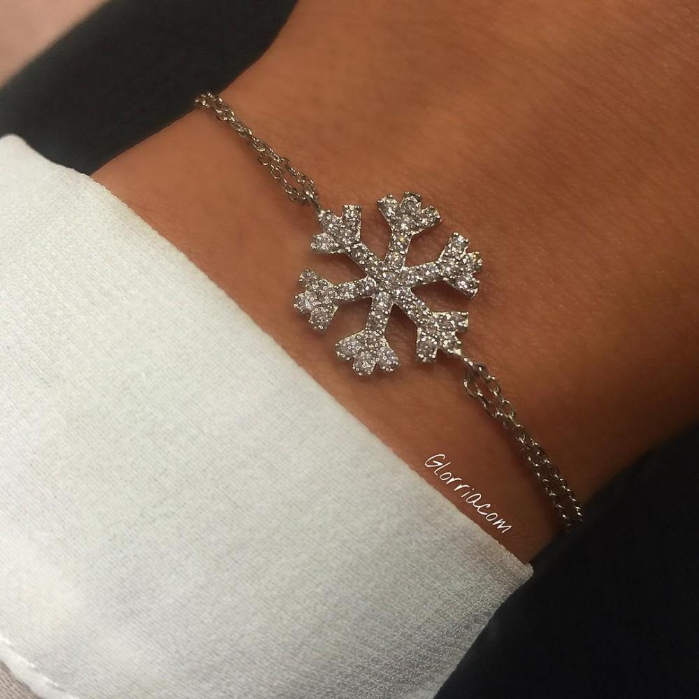 Glorria Silver Snowflake Bracelet
