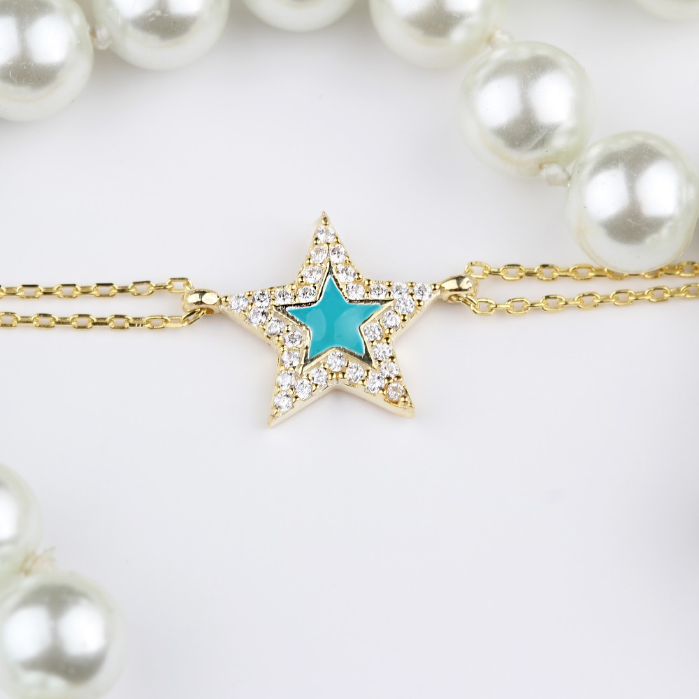 Glorria Silver Pave Star Bracalet