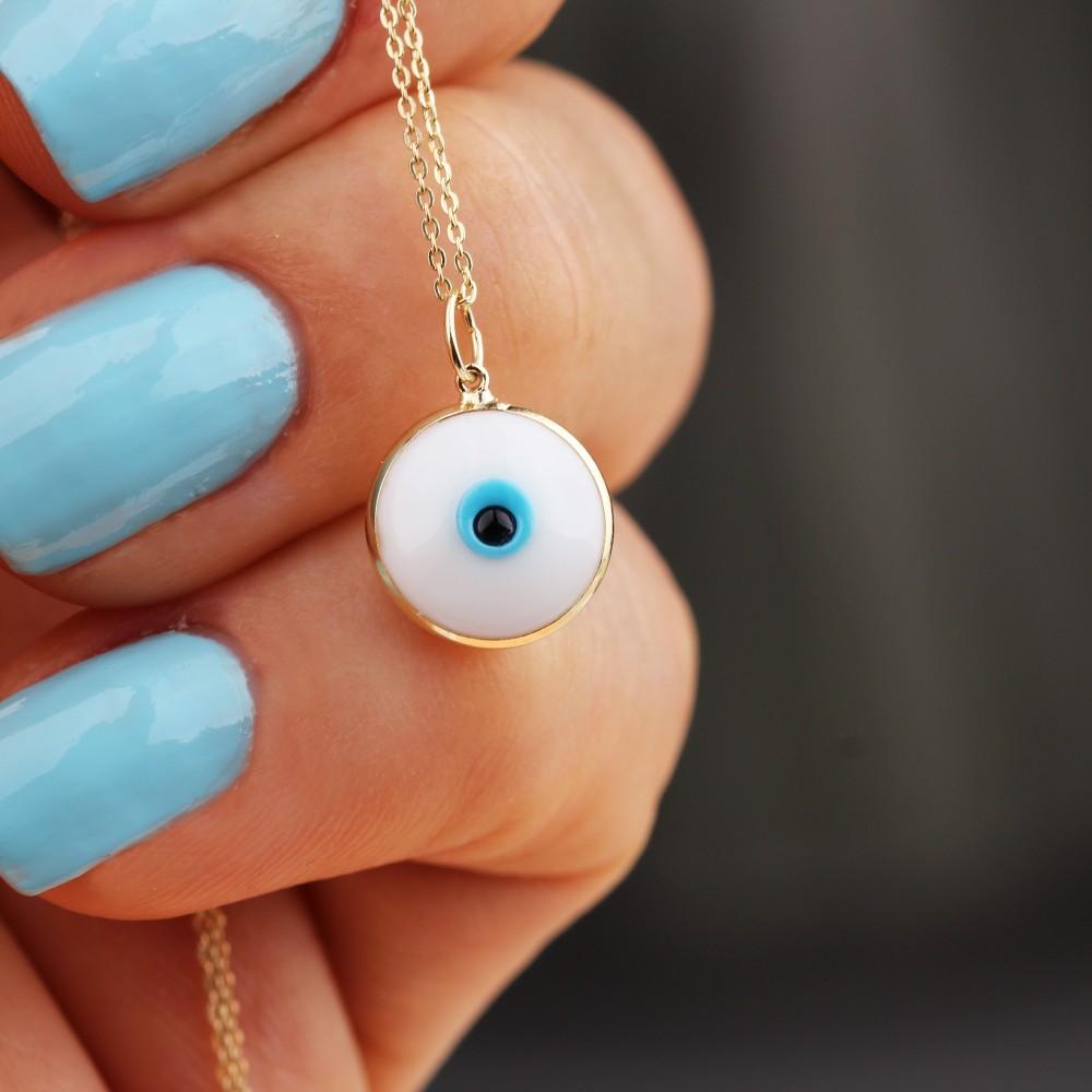 Glorria Gold White Evil Eye Beaded Necklace