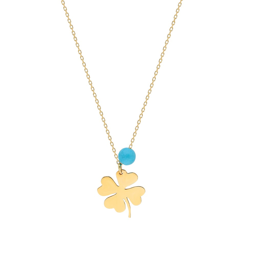 Glorria Gold  Turquoise Clover Necklace