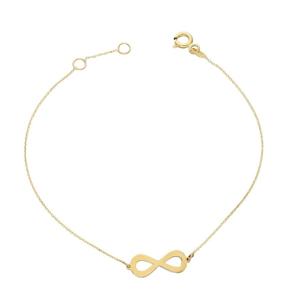 Glorria Gold Infinity Bracelet, Watch Gift Set
