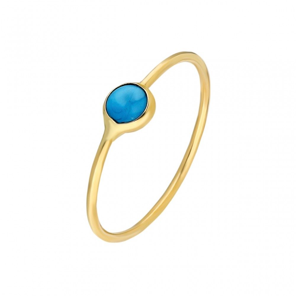Glorria Gold Turquoise Pave Ring