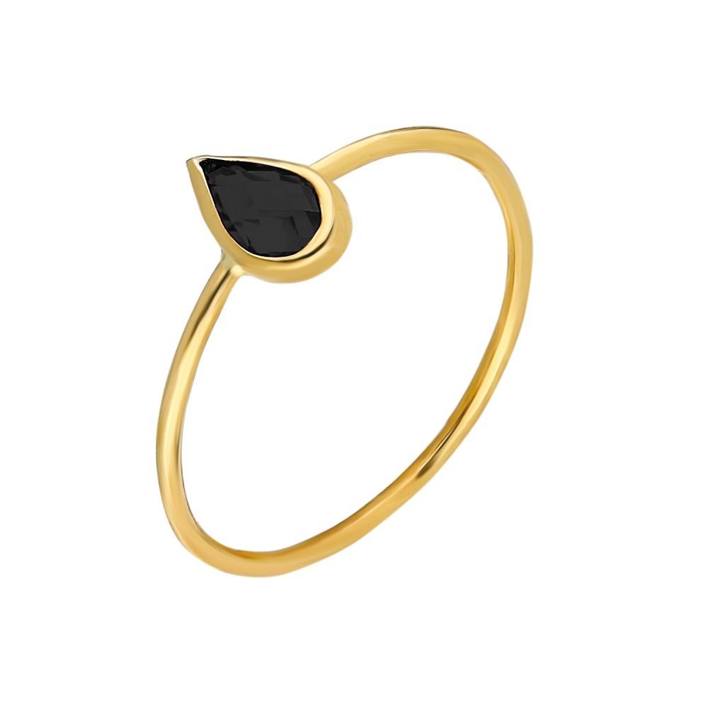 Glorria Gold Black Pave Drop Ring