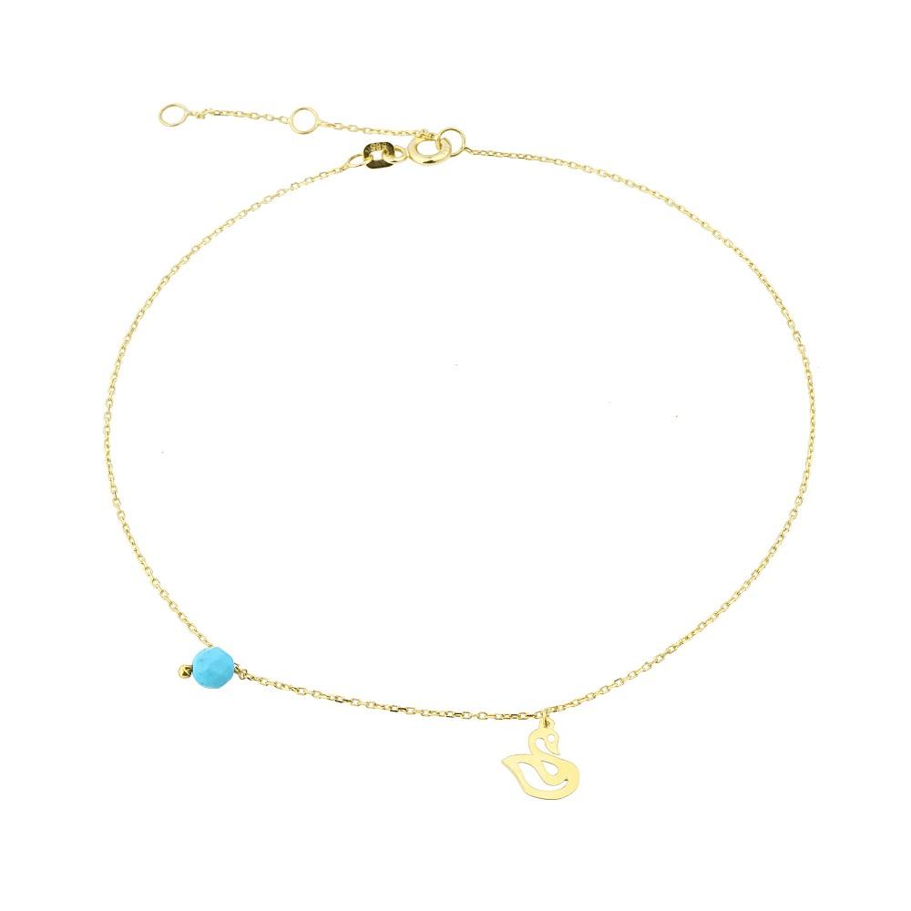 Glorria Gold Turquoise Stone Swan Anklet