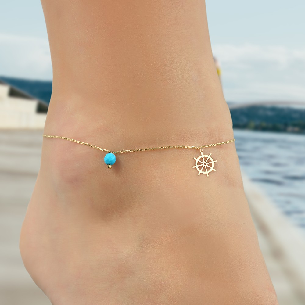 Glorria Gold Turquoise Stone Helm Anklet