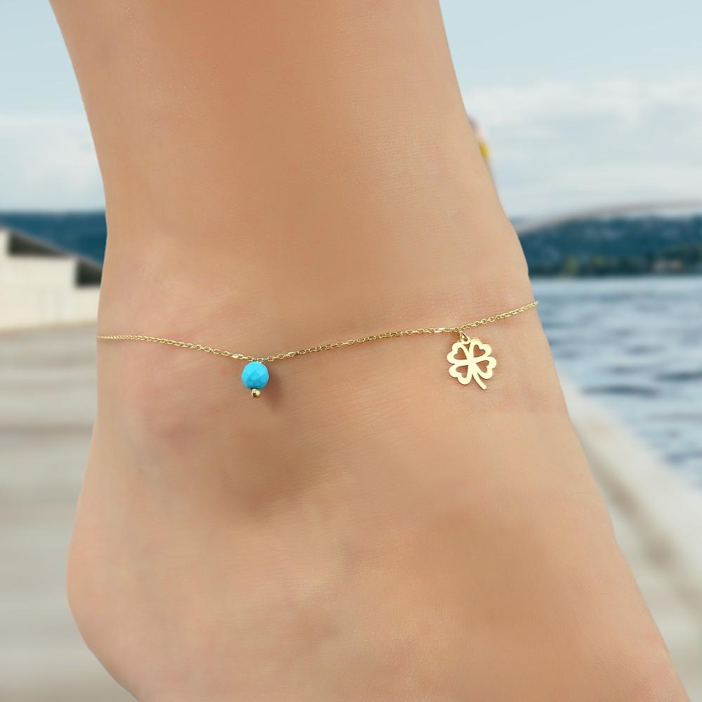 Glorria Gold Turquoise Stone Clover Anklet