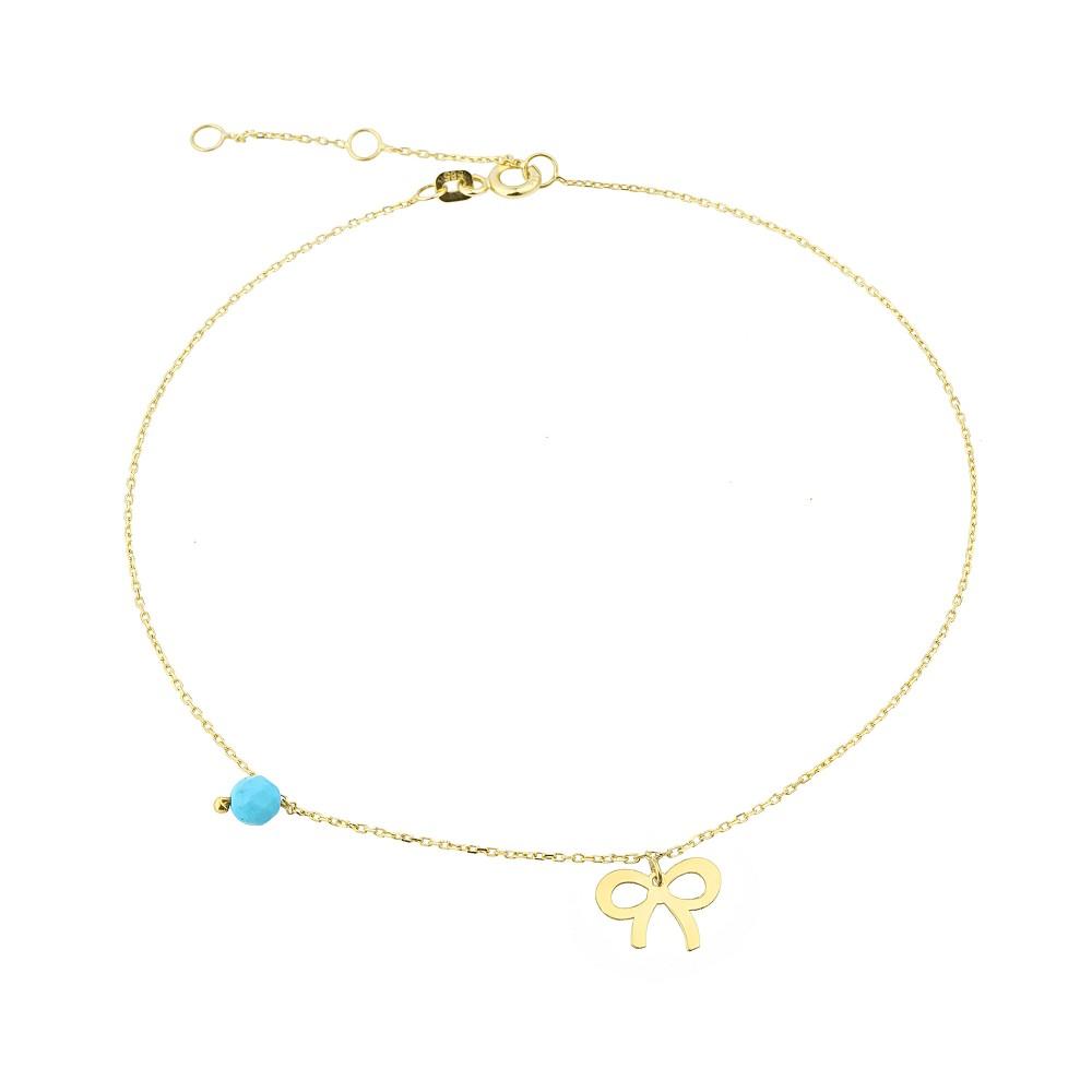 Glorria Gold Turquoise Stone Bow Anklet