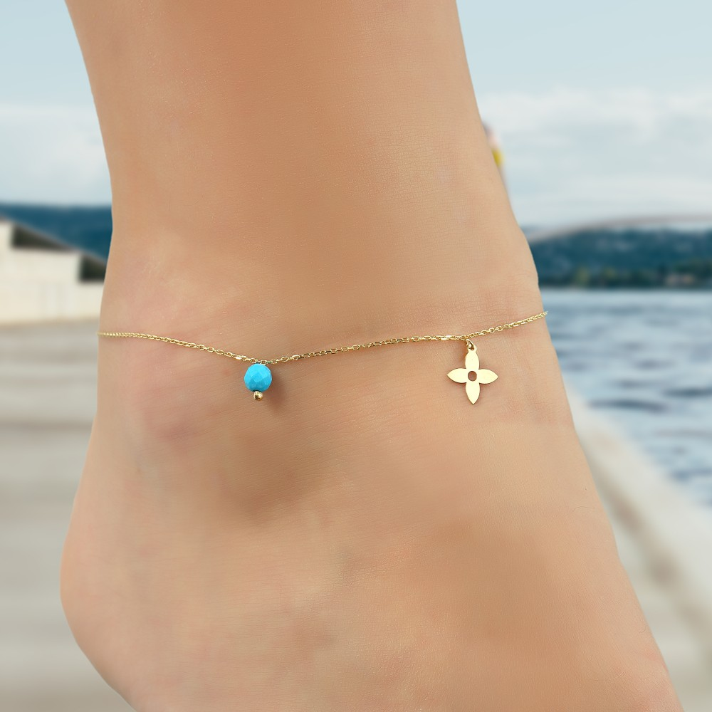 Glorria Gold Turquoise Stone Flower Anklet