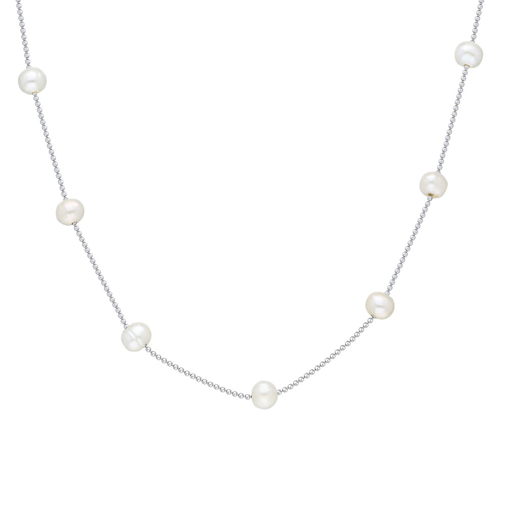Glorria Silver Pearl Necklace, Flower Gift Set