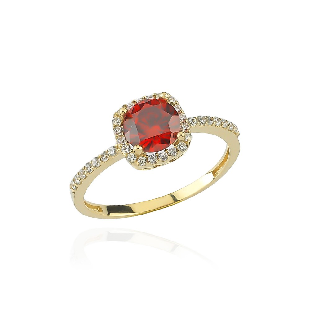 Glorria Gold Red Zirkon Pave Ring