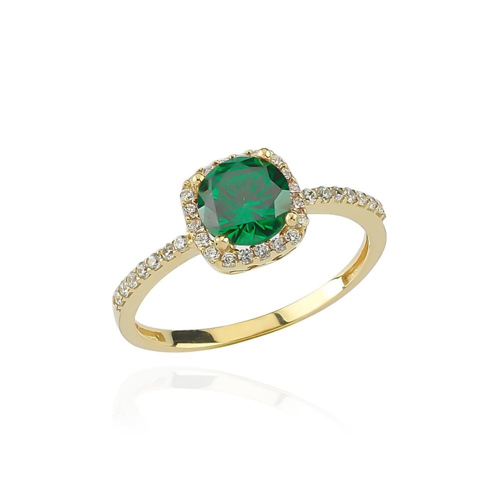 Glorria Gold Green Zirkon Pave Ring