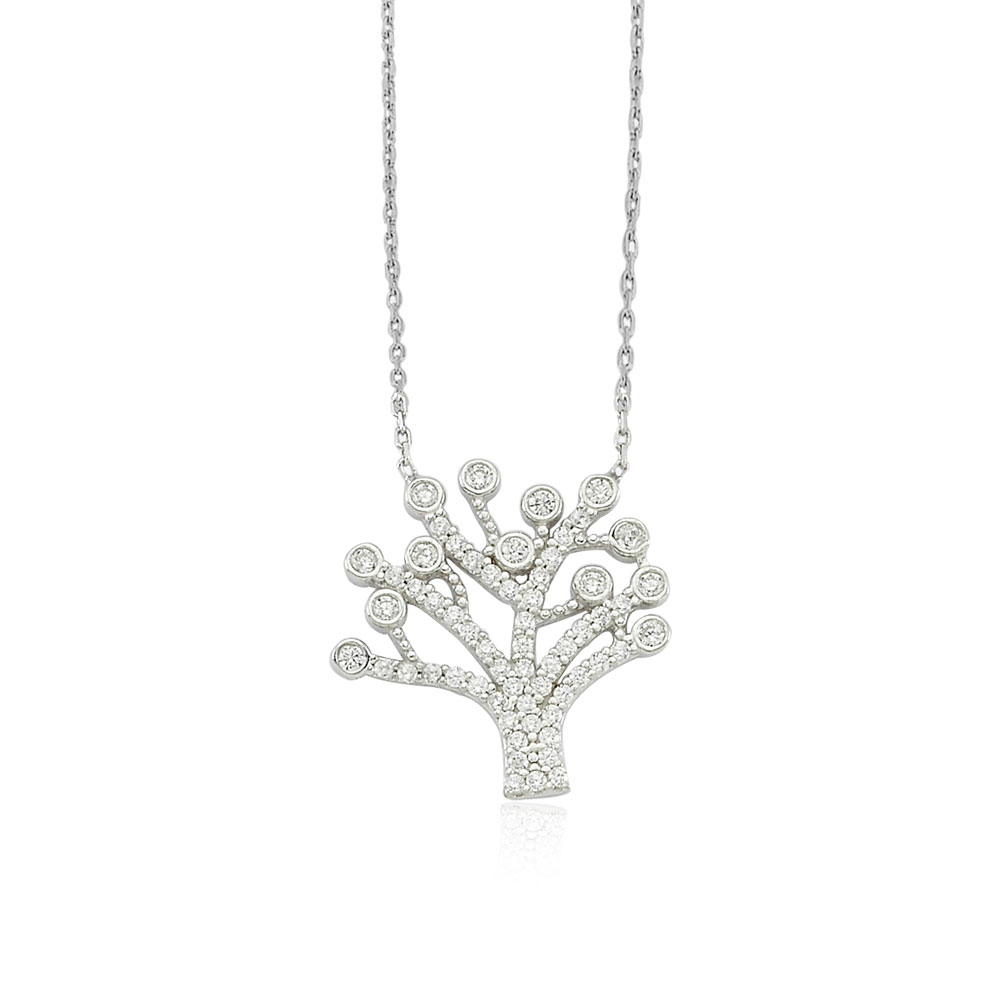 Glorria Silver Tree of Life Necklace, Solitaire Earrings Gift Set
