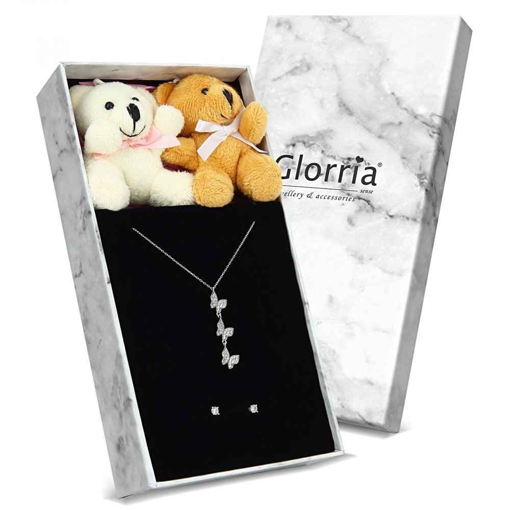 Glorria Silver Three Butterfly Necklace, Solitaire Earrings Gift Set