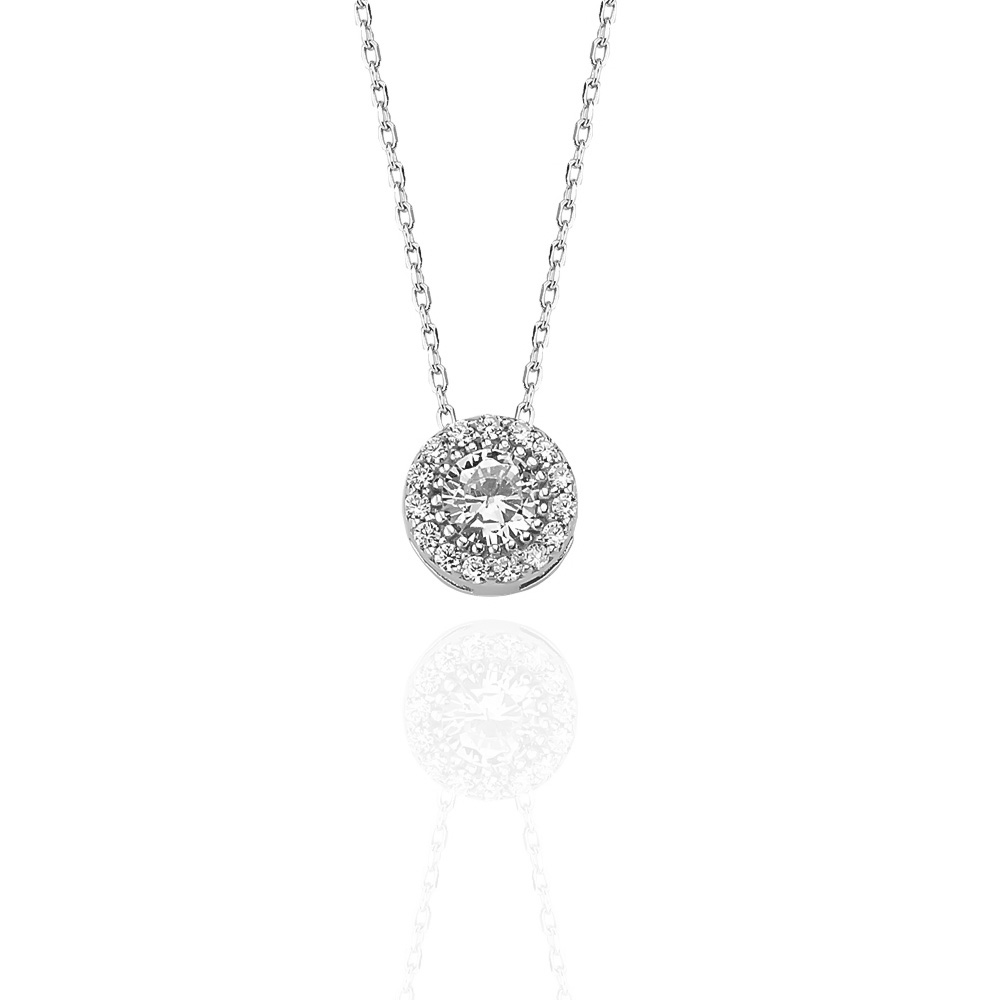 Glorria Silver Solitaire Necklace, Earrings Gift Set